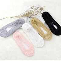1 Pair Of 2017 Hot Summer Women Girls Cotton Lace Antiskid Invisible Liner No Show Peds