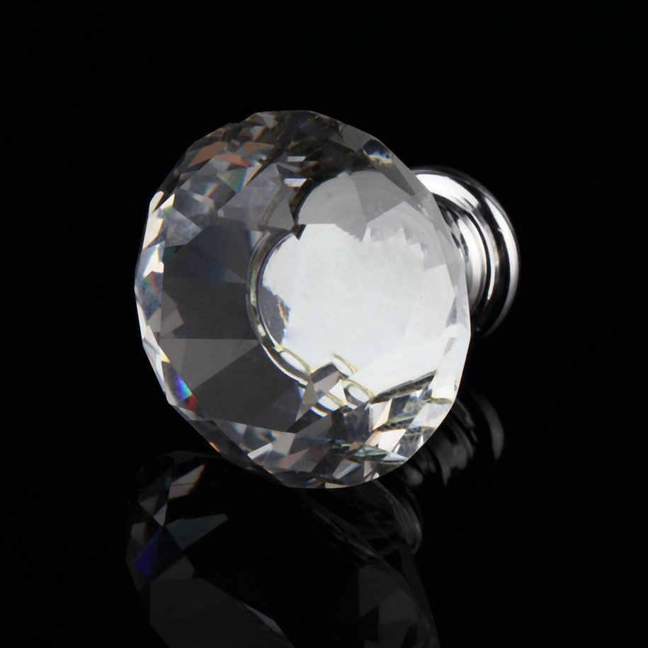 1 قطعة 30 مللي متر الماس زجاج كريستال شفاف الباب سحب درج مجلس الوزراء مكونات الاثاث مقبض المقبض برغي الساخن في جميع أنحاء العالم