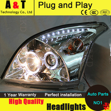 For Toyota PRADO Headlights 04-09 Prado F120 LED Headlight angel eye led drl H7 hid kit low beam Bi-Xenon Lens