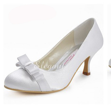 Elegant Bowknot Bridal Shoes Wedding Dress Shoes Woman Formal Dress Shoes Sexy Satin Middle Heel Dancing Party Prom Shoes
