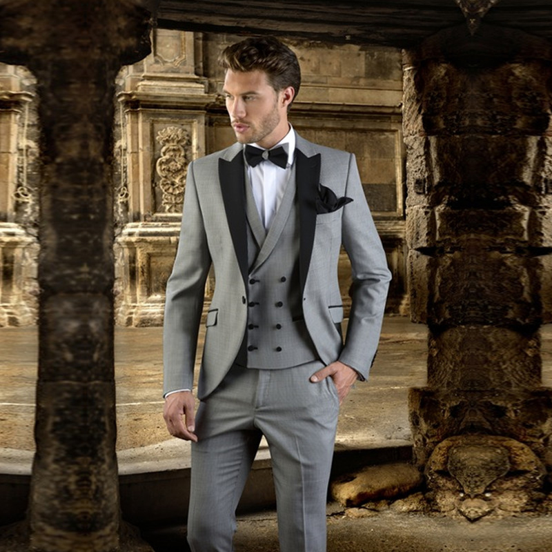 Yiwumensa 2017 Grey With Black Men Suit Slim Fit Prom Wedding Party Tuxedo Modern Blazer Groom Suits Jacket Pants Vest In From Mens