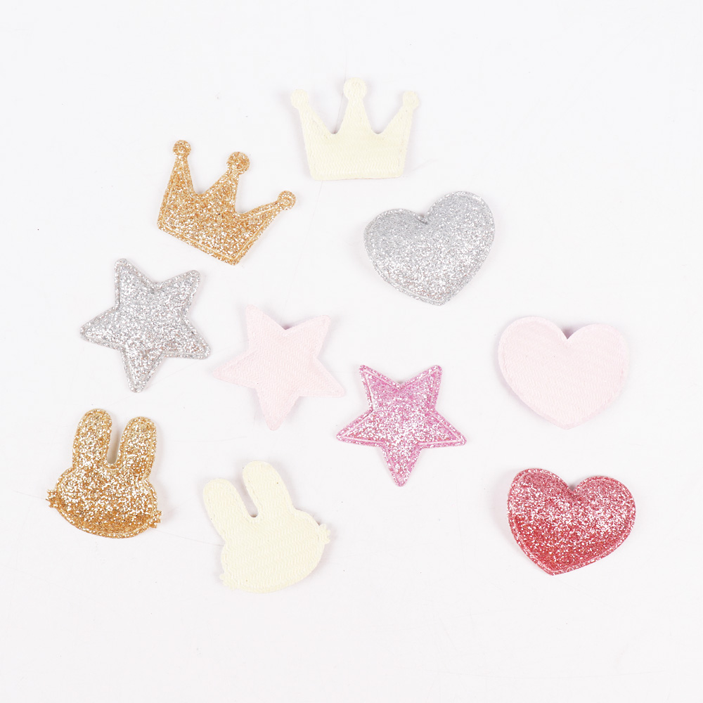 HTB1A6gOniCYBuNkSnaVq6AMsVXaJ 100pcs/bag Glitter Patches Crown Rabbit Heart Pattern Cute Patch Apparel Sewing Material Patches For Clothing Garment Decorative