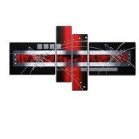 현대 손으로 그린 아트웍 4 패널 추상 실버 레드 블랙 유화 캔버스 벽 예술에 대 한 뜨거운 판매 홈 장식