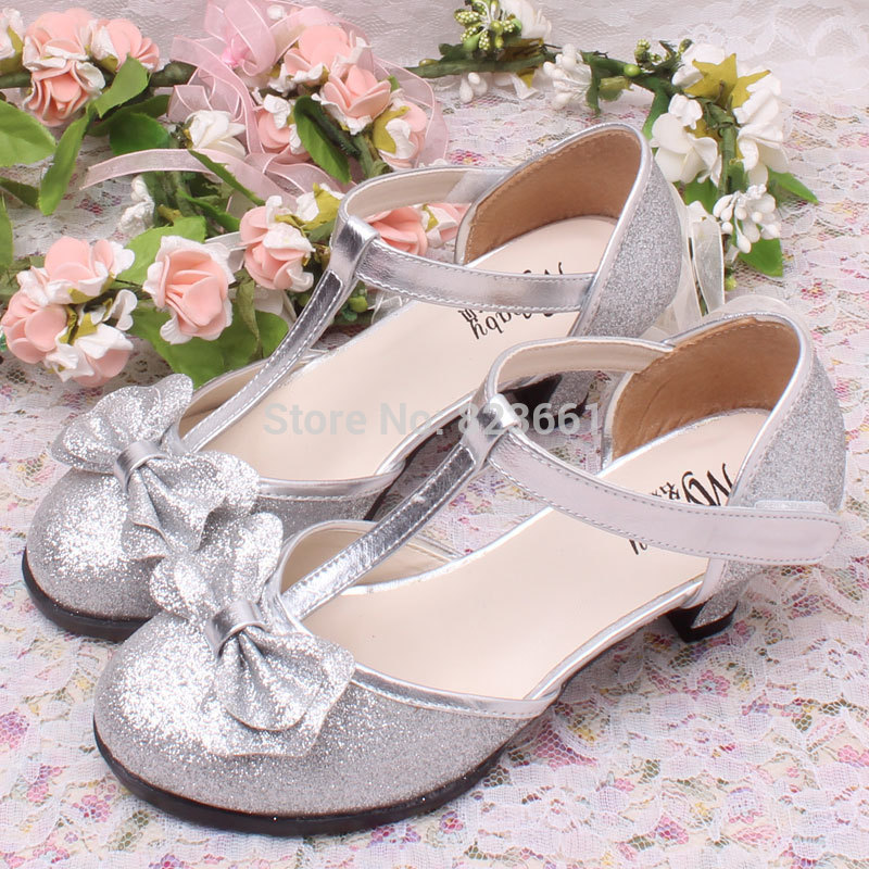 549ced1be502 High Quality Silver Girls Wedding Shoes High Heels Children Kids Spring  Shoes Size 29~36