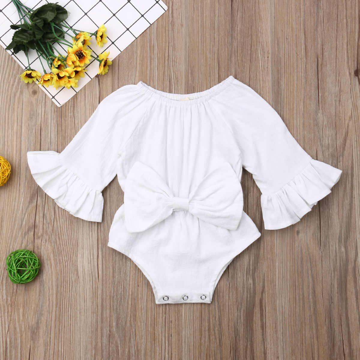 Новинка; милая Одежда для маленьких девочек; боди с длинными рукавами; летняя цельная одежда