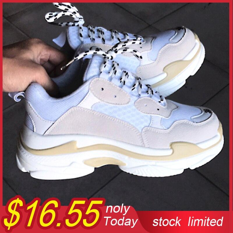 Vogue Chunky Girls Sneakers Informal Footwear Platform Sneakers Suede Leather-based Footwear Lady Sneakers Women Zapatillas Mujer White
