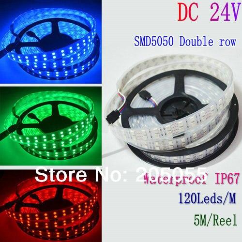 5M 16.4ft 12V SMD White 5050 IP67 Waterproof 600 LED Double Row Tube Strip Light