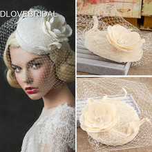 Vintage Elegant Floral Bridal Hat with Face Veil Garden Wedding Hair Accessory Bride Mother Special Occasion Party Photo