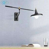 Скандинавский стиль настенный светильник прикраватная лампа для чтения телескопическая длинные рокер бра Современный E27 черный Регулируе