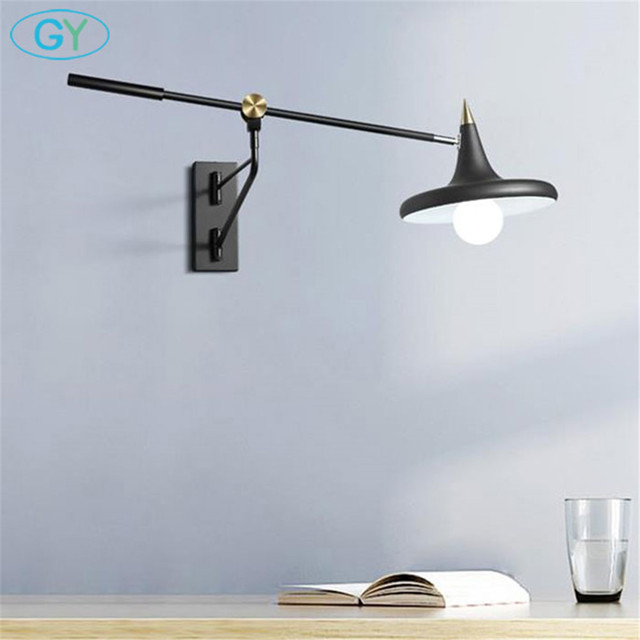 Scandinavian Style Wall Lamp Bedroom Bedside Reading Telescopic Long Rocker Sconces Modern E27 Black Adjule Lights