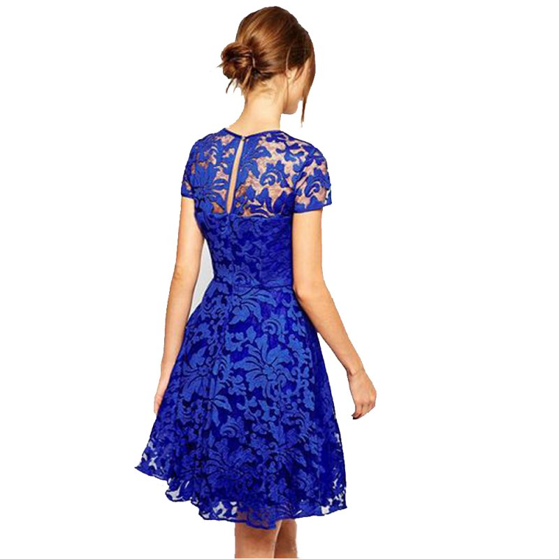 ff3b99203c44 2018 Sexy Women Floral Lace Dresses Ukraine Short Sleeve Party Casual Solid  Color Blue Red Black Mini Dress Plus Size S 5XL-in Dresses from Women s  Clothing ...