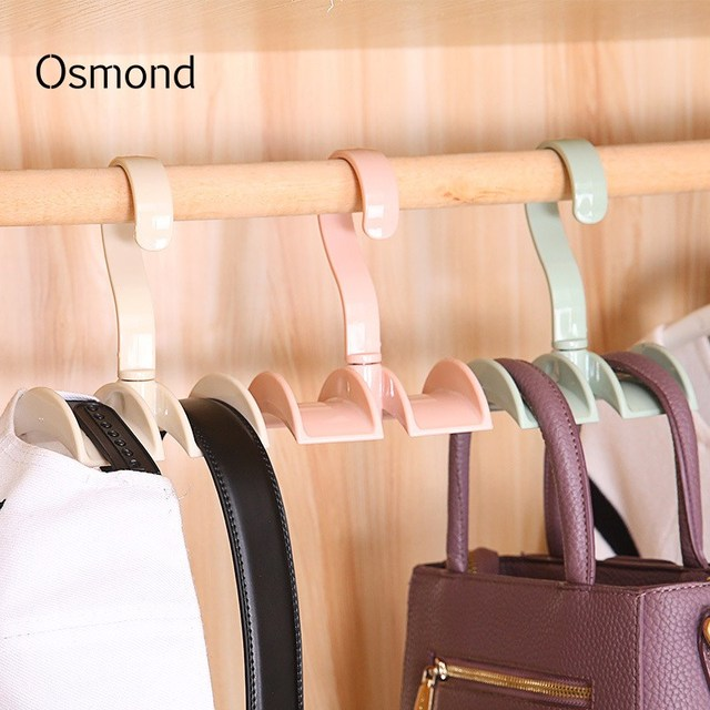 Osmond 360 Degree Bag Hanger Plastic Handbag Hangers Closet Hook Clothing Hanger  Bag Accessories Organizer Pink