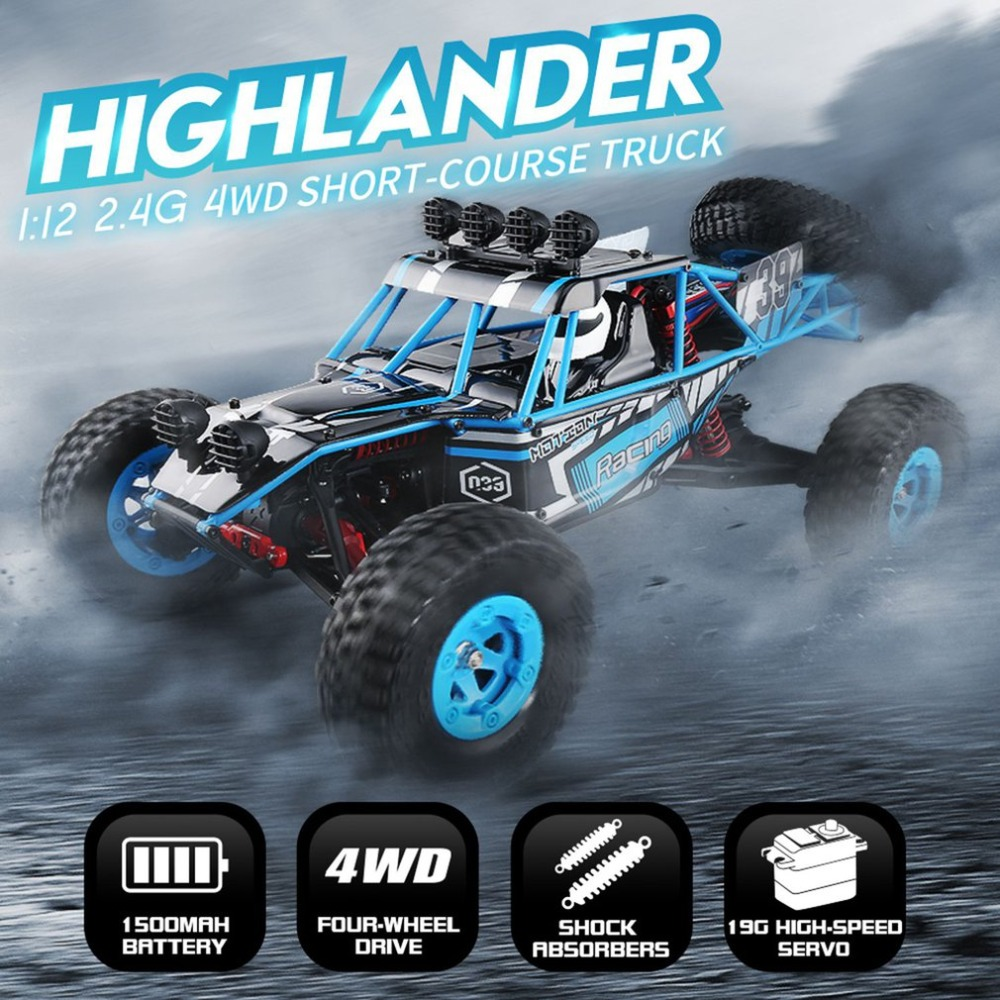 JJRC Q39 RC Car HIGHLANDER 1:12 4WD blue RC Desert Truck RTR 35km/H Fast Speed High-Torque Servo 7.4V 1500mAh LiPo Off Road Cars
