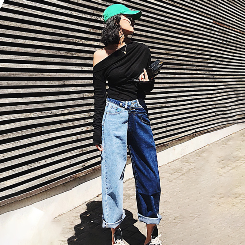 Irregular Loose casual Women Patchwork Jeans High Waist Summer Denim Long Trousers Fashion Clothing Large Size
