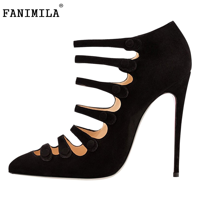 Women High Heel Shoes Elegant Flock Pointed Toe Thin Heels Pumps Stylish Black Shoes Woman Heeled Footwear Size 35-46 B053 comfy women pointed toe square high heels office shoes woman flock ladies pumps plus size 34 40 black grey high quality