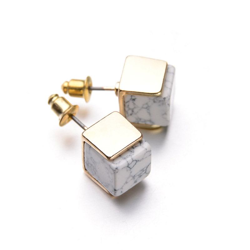 Europa Europa charm Imitation marble Pattern White turquoise After hanging earrings Women elegant temperament jewelry E577