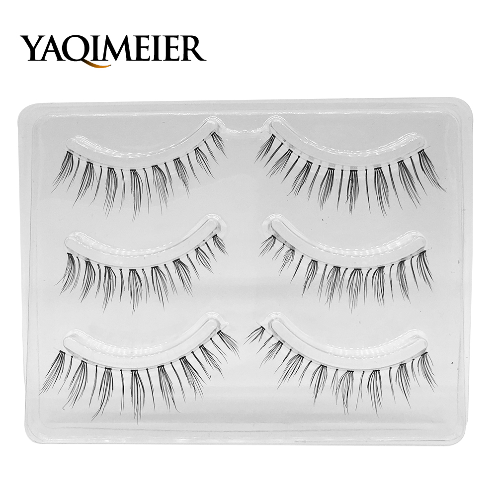 YAQIMEIER 3 Pairs Set Natural Long Fake Eyelashes High Quality Charming  Handmade Wispy False Eyes Lashes