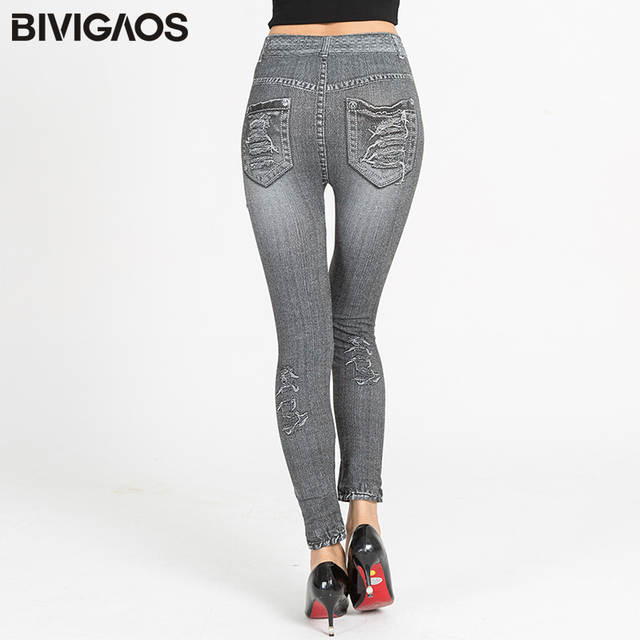 d7307f1c3e1 Online Shop BIVIGAOS Summer New Womens Imitation Denim Legging Pants Jean  Leggings High Elastic Thin Slim Skinny Jeggings For Women