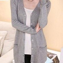 HEE GRAND/женские шерстяные свитера осень размера плюс 4XL средней длины кашемировый женский кардиган с карманами верхняя одежда WZL1459