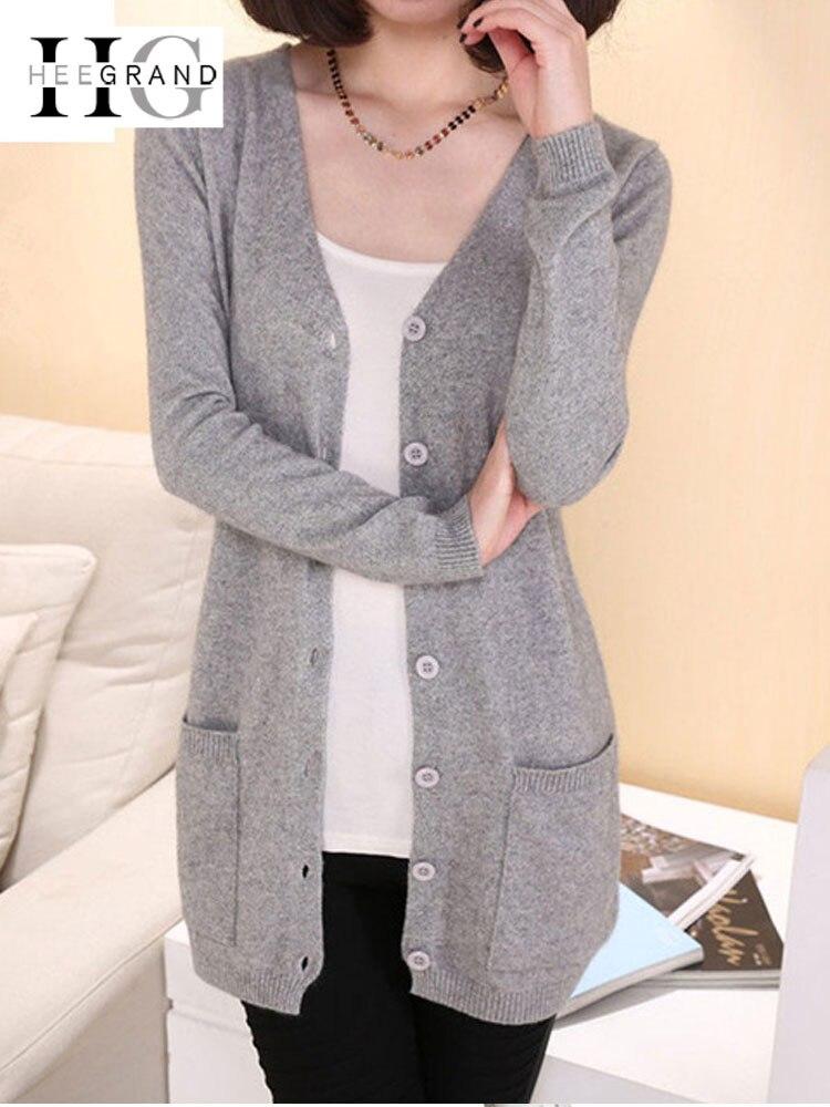 HEE GRAND Ladies Wool Sweaters Autumn 2019 Plus Size 4XL Medium Length Cashmere Cardigans Women Sweater Pocket Outerwear WZL1459