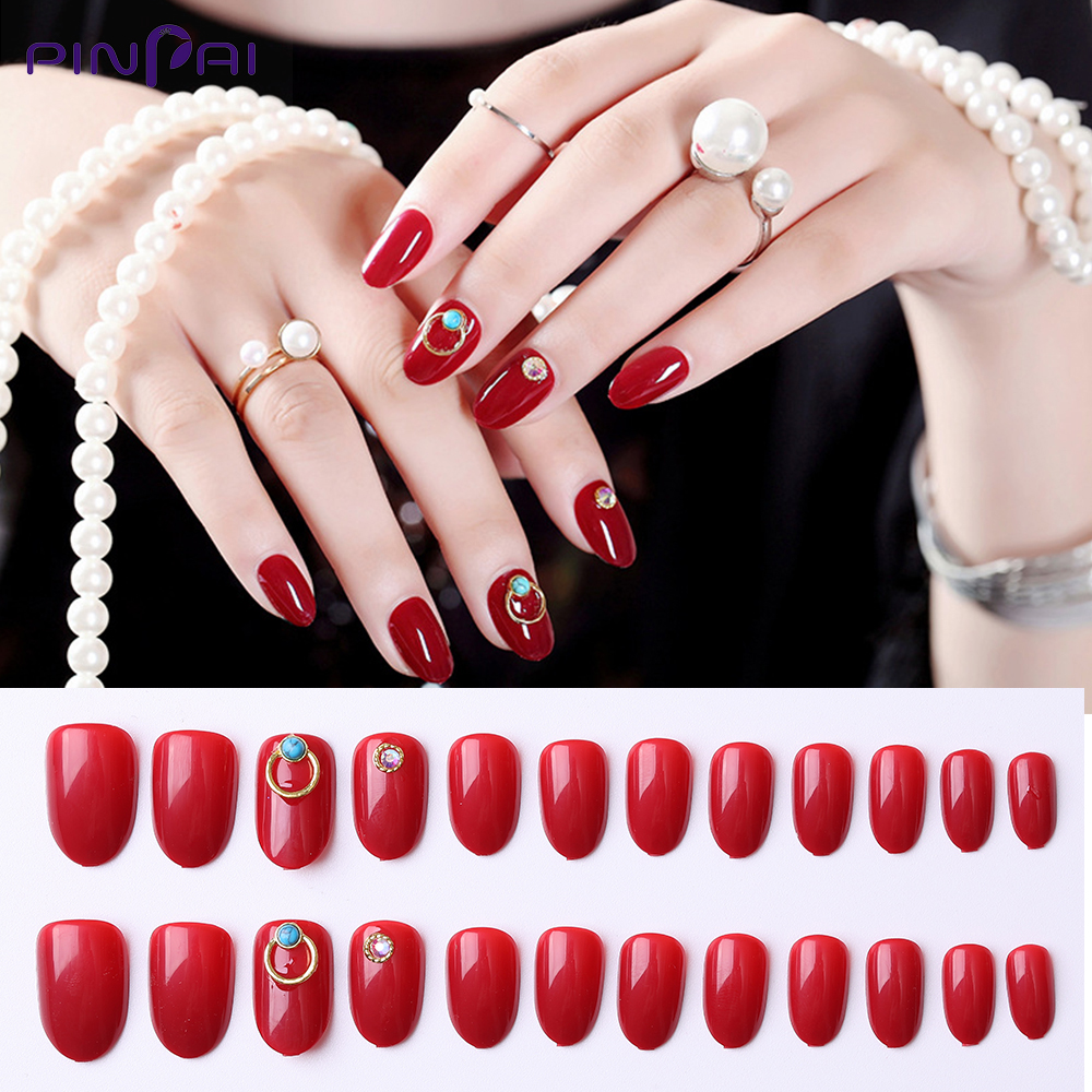 16 Styles Red Series False Nails Full Cover Press Tips Laser Rhinestone Decoration Design Reusable Fake With Glue Sticker