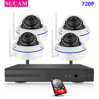 SUCAM 4CH 720P FULL HD Dome Wireless NVR Kit WIFI CCTV System P2P 4 Pieces 1MP