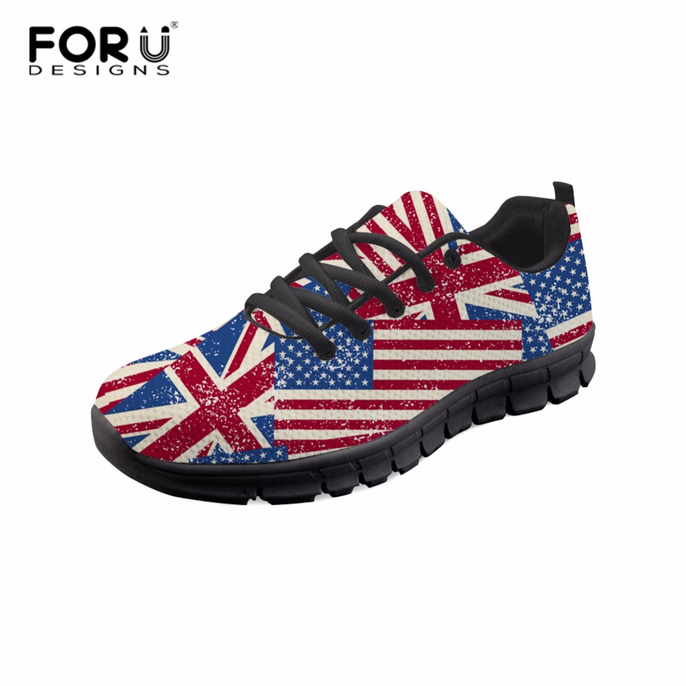 FORUDESIGNS 2018 Flats Women Sneakers Fashion 3D Flag Pattern Women Casual Flats Shoes Spring Comfortable Flat Shoes for Lady