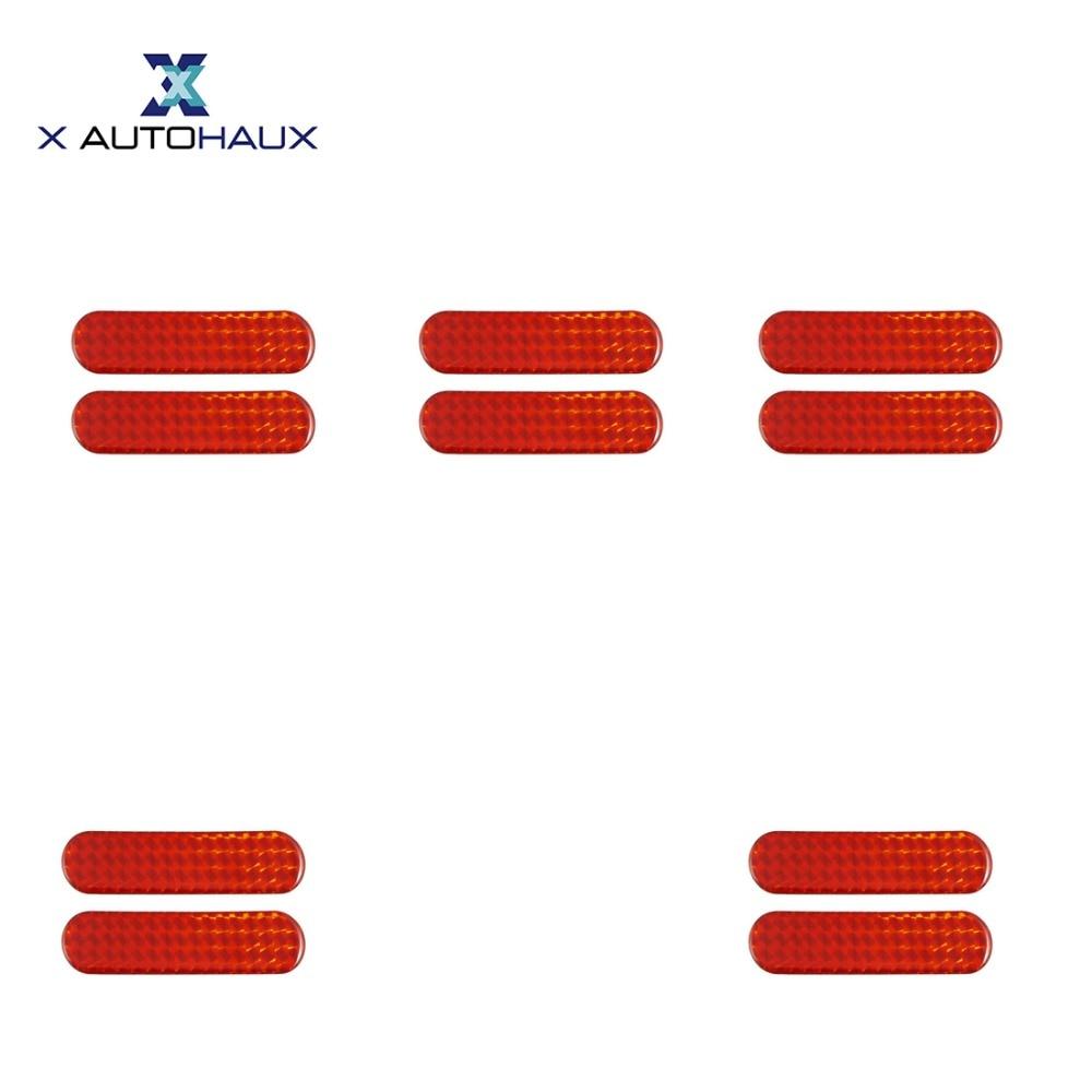 "X Autohaux 10 Pcs 10.6 x 2.5cm/ 4.2"" x 1"" (L*W) Red Car Auto Self Adhesive Safety Reflective Stickers Car Exterior ACCESSORIES"