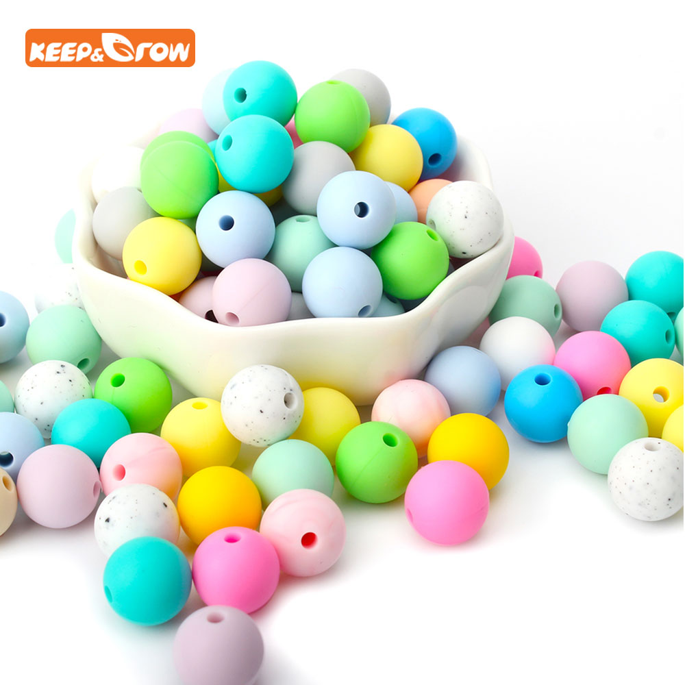 Keep&grow 10Pcs Silicone Beads 12mm Baby Teething Round Teether For Nursing Necklace Rattles Infant Pacifier Chain Toddler Toys