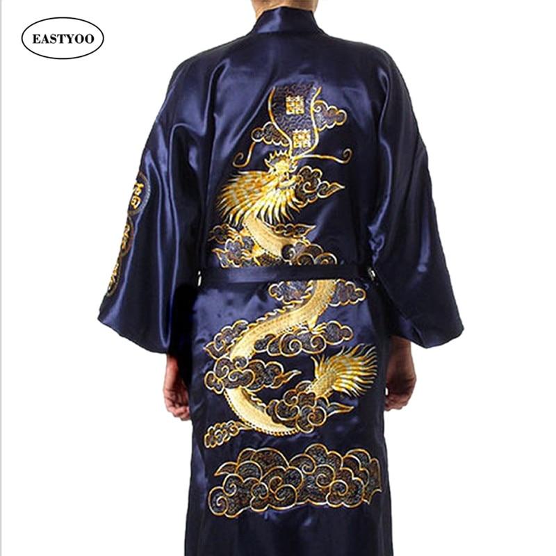 Dragon Silk Robes Men Satin Pajamas Belt Silk Pijamas Plus
