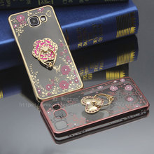 Ringcall For Samsung Galaxy A3 A5 A7 A8 A9 2015 2016 2017 Pro Silicon Diamond Crystal Glitter Ring Stand TPU Soft Phone Case