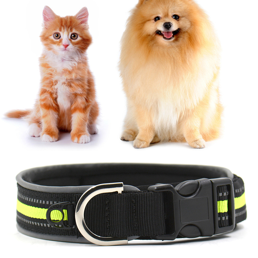 1pcs New Pet Dog Adjustable Reflective Rhinestone Studded Buckle Collar Neck Diving Material Dog Collar