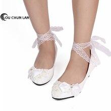Women's Pumps Shoes White Lace Rhinestone bandage Bride Wedding Shoes Dress pregnantwith  Low-Heeled Shoes Bow 3cm/5cm/8cm Heel