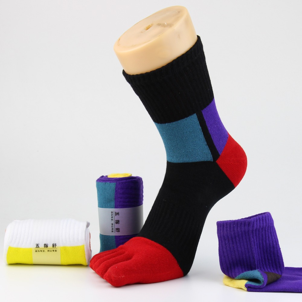 Для мужчин носком носки спортивные красочные хлопок пять пальцев носок Удобная дезодорант Toe носки среднего трубка спортивные Чулочно-носо...