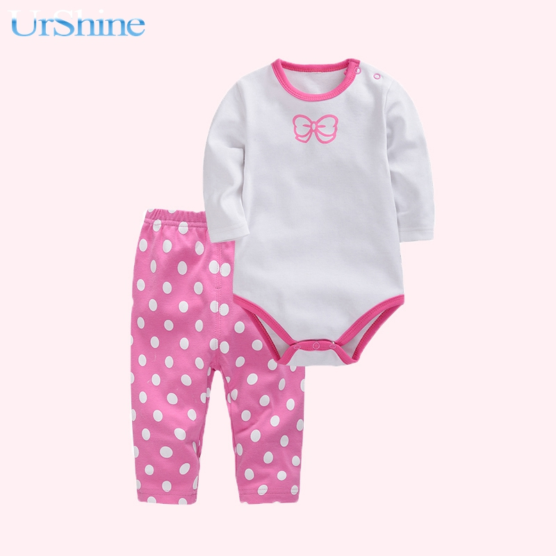White Pink Baby Pajamas Printing Cartoon Newborn Boy Cotton Baby Baodysuit Biy Home Clothing Set Vestido Infantil 2018