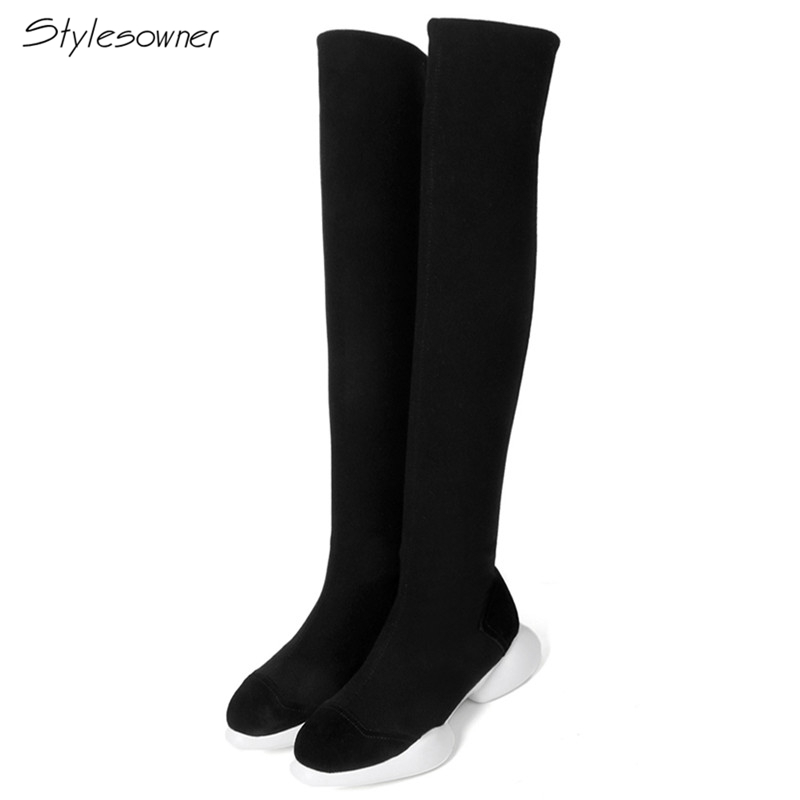 Stylesowner Sexy Women Stretch Fabric Elastic Long Sock Boots Over Knee High Platform Sock Boots Thick Sole Casual Slim Boots