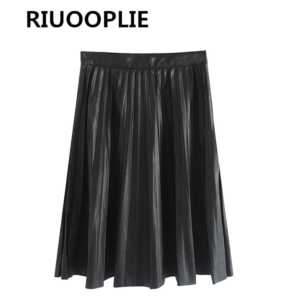 8f8a3fe2f € 14.51 |RIUOOPLIE largo plisado falda de cuero mujeres negro alta cintura  Faldas Mujer Vintage en Faldas de La ropa de las mujeres en ...