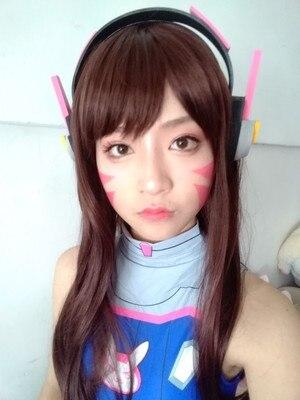 Jeu D. va casque pour Cosplay HANNA chanson rose DVA casque écouteur pour Halloween Partty grand événement exposition arme D.V.A