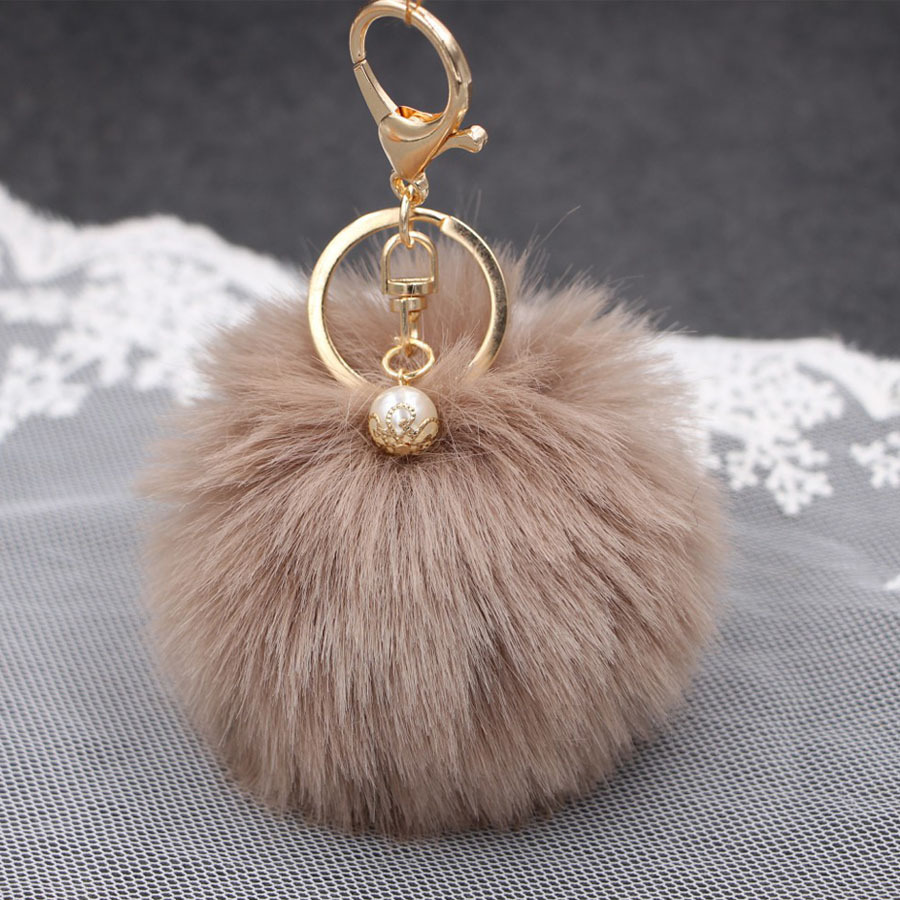 Big faux Pearl Rabbit Fur Ball Keychain handBag Ring Plush porte clef Artificial fur PomPom key chain Ornament pom pom Pendant