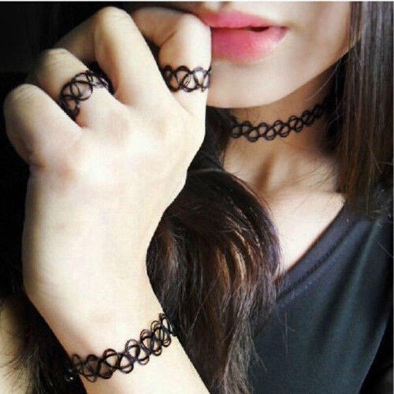 Stretch Tattoo Choker Necklace Punk Gothic Elastic Necklaces Set Bracelet for Women Black colar Hot Sale Special Design N1881
