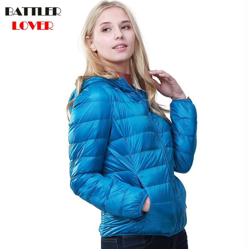2018 Winter Women Ultra Light Down Jacket 90% Duck Down Hoody Jackets Long Sleeve Warm Coat Womens Parka Female Portabl Outwear