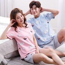 Summer 2019 pajamas couple cotton round neck short sleeve suit 2pcs printed casual sleepwear men female lounge set Nighty korean