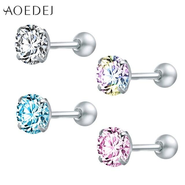 AOEDEJ 3-8mm Star Crystal Stud Earrings For Women Girls Stainless Steel Colored