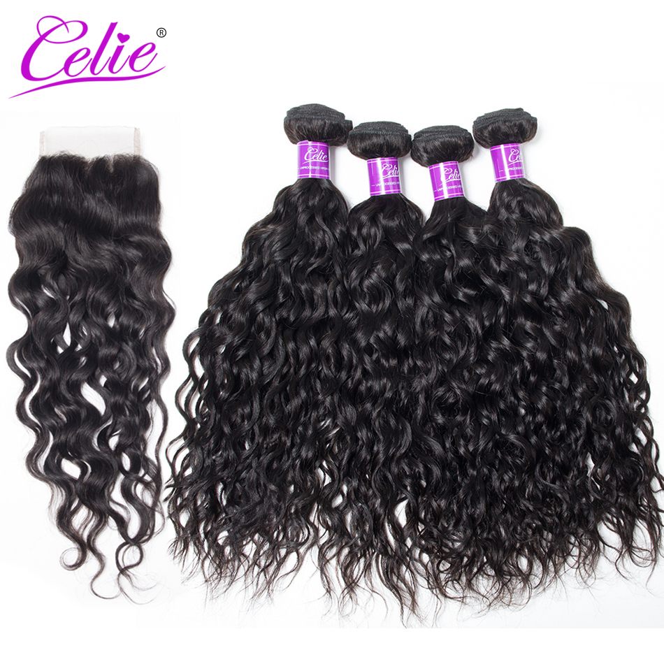 Celie Hair Brazilian Water Wave With Closure 5Pcs Lot Remy Human Hair Bundles With Lace Closure