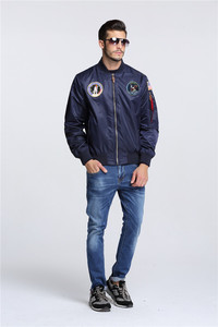 Image 5 - Autumn Apollo Thin 100th SPACE SHUTTLE MISSION MA1 Bomber Hiphop US Air Force Pilot Flight Korean College Jacket For Men