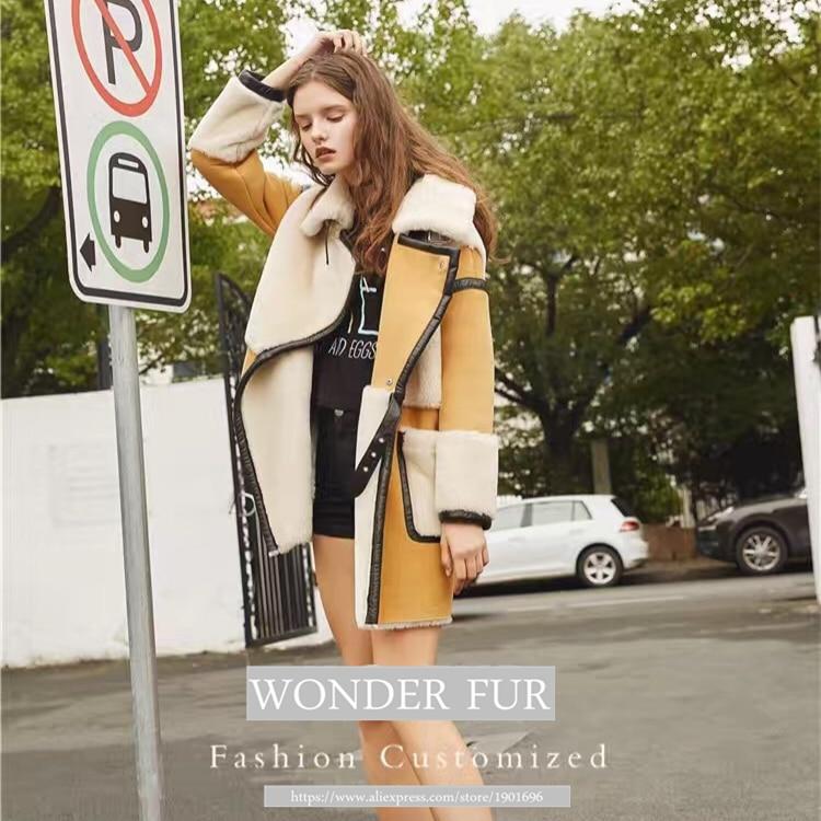 Nov prihod iz ovčje kože in krznene jakne Trend Style Merino ovčje - Ženska oblačila - Fotografija 3