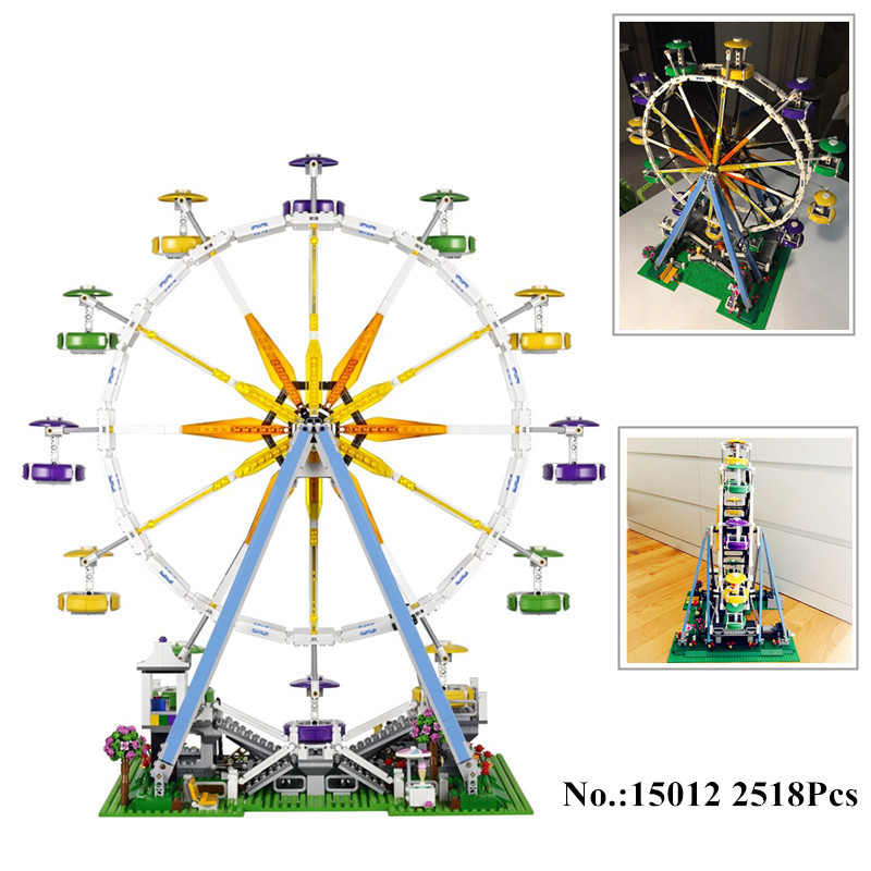 H&HXY In-Stock 2518pcs 15012 City Street Ferris Wheel Model Building Kits Blocks lepin DIY Toy Compatible with 10247 gifts