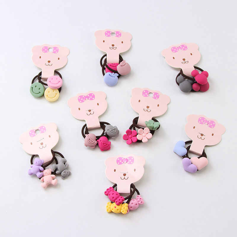 3Pcs/Set Good Quality Candy Colors Cartoon Acrylic Girls Elastic Rubber Bands Cute Hair Bands Ponytail Holder Hair Accessories