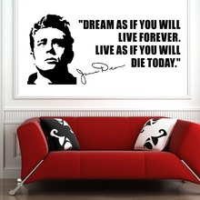 цена на WALL DECAL JAMES DEAN USA ACTOR  QUOTES  Dream As If You Will  Vinyl Wall Art Sticker Home Decoration Curving Wall Sticker M-170