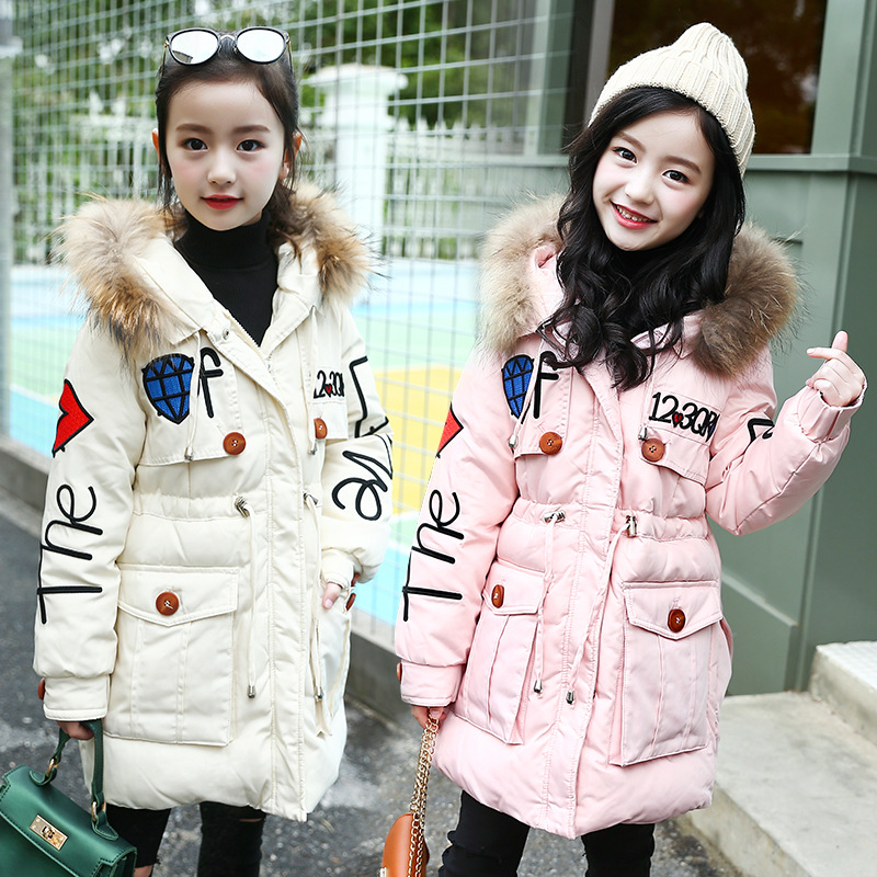 2018 Winter Girls Long Embroidered Hooded Cotton Padded Jacket Korean Children's Fur Collar Coat Kids Thickened Overcoat A699 sequin embroidered zip up jacket